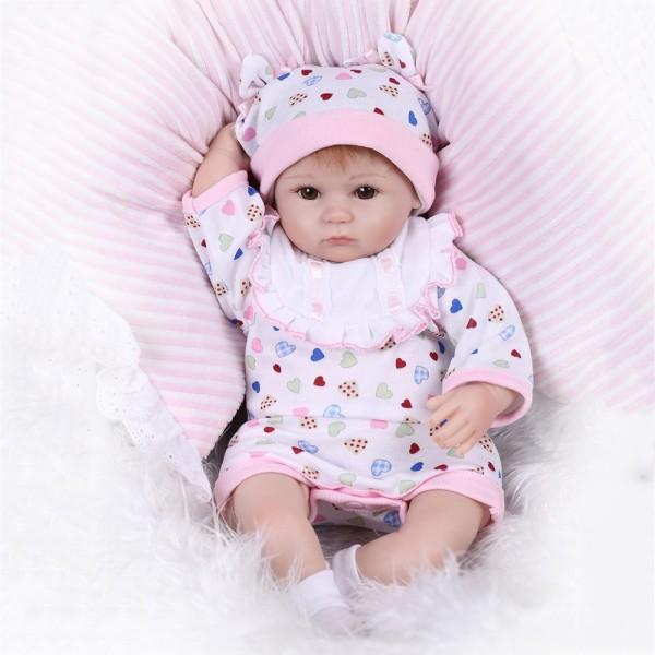 Reborn Baby Girl Doll In Romper Lifelike Silicone Baby Doll 16inch