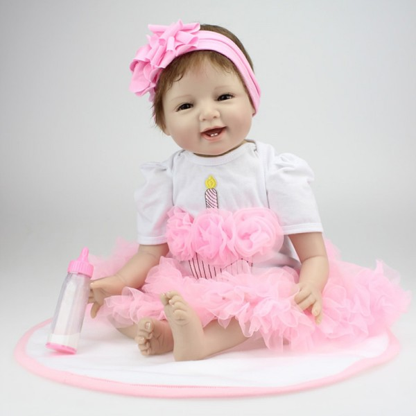 Reborn Girl Doll In Pink Bubble Skirt Lifelike Silicone Baby Doll 22inch