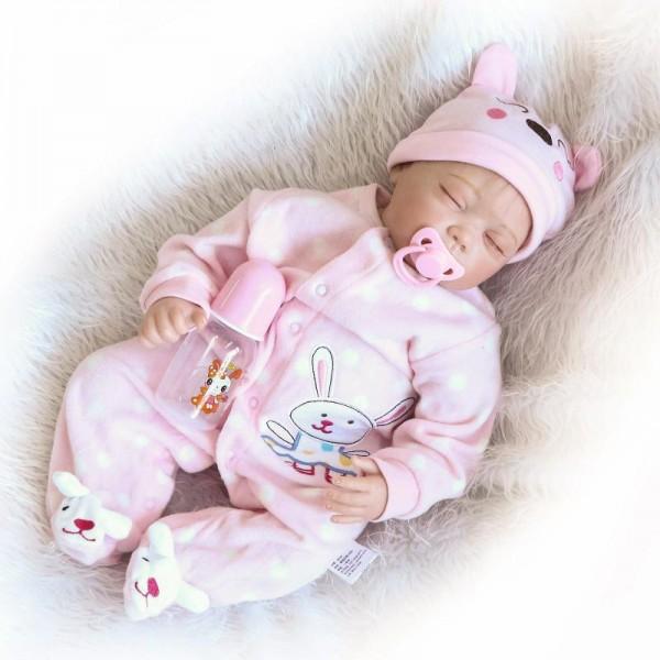 Sleeping Reborn Baby Doll Lifelike Realistic Silicone Girl Doll 22inch