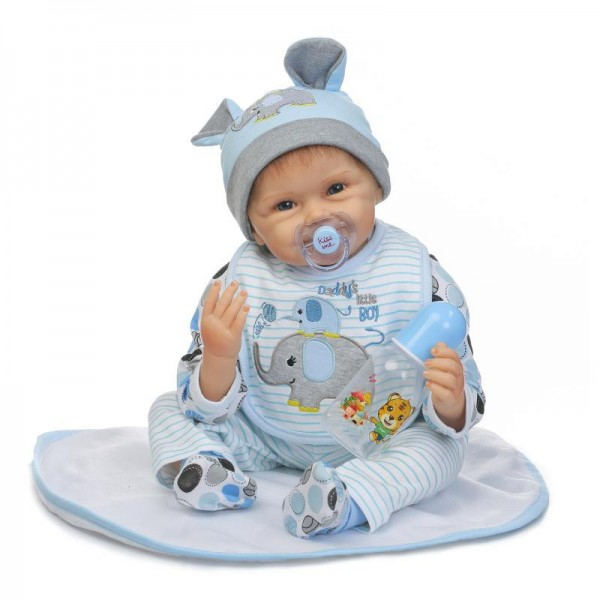 Smile Reborn Baby Boy Doll Lifelike Silicone Doll 22inch