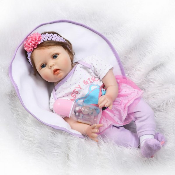 Lifelike Reborn Girl In Purple Silicone Realistic Baby Doll 22inch