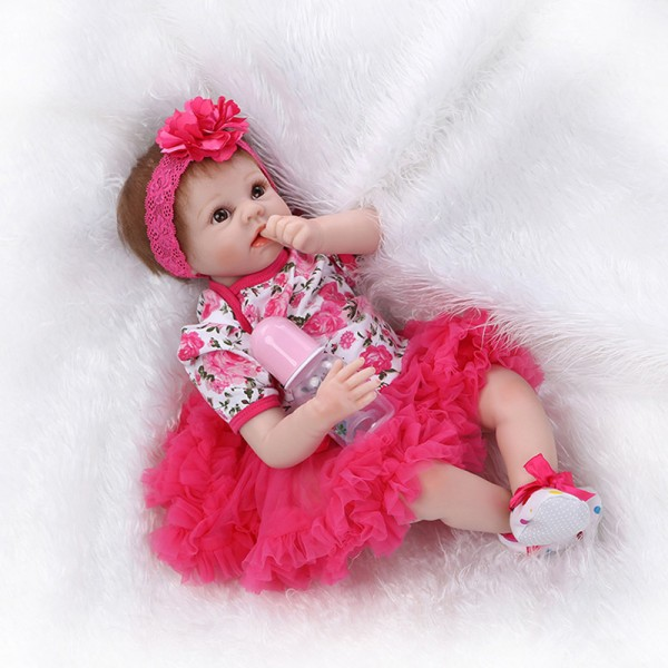 Life Like Reborn Baby Doll In Rose Bubble Skirt Newborn Silicone Girl Doll 22inch