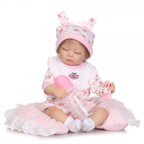 Sleeping Reborn Baby Doll Mohair Lifelike Silicone Girl Doll 16inch