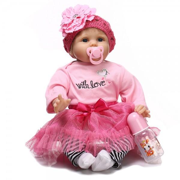 Soft Silicone Reborn Baby Dolls Lifelike Realistic Girl Doll 22inch