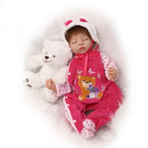 Sleeping Baby Doll Soft Silicone Lifelike Reborn Girl Doll 22inch
