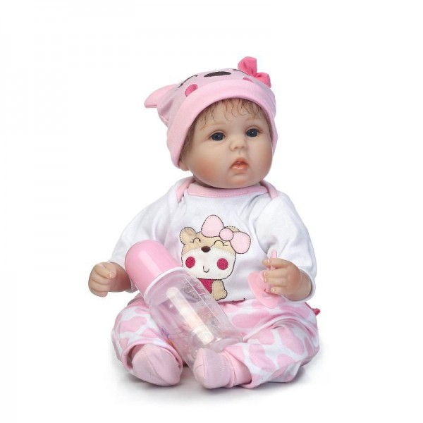 Poseable Reborn Baby Doll Lifelike Silicone Girl Doll 16inch