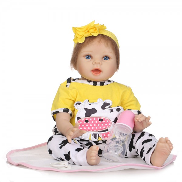 Reborn Baby Doll In Dairy Cow Romper Lifelike Silicone Girl Doll 22inch