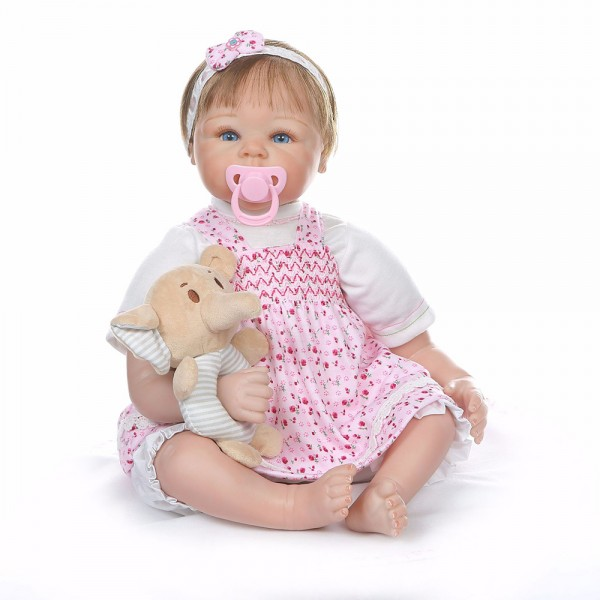 Cute Lifelike Reborn Girl Doll Silicone Realistic Mohair Baby Doll 22inch