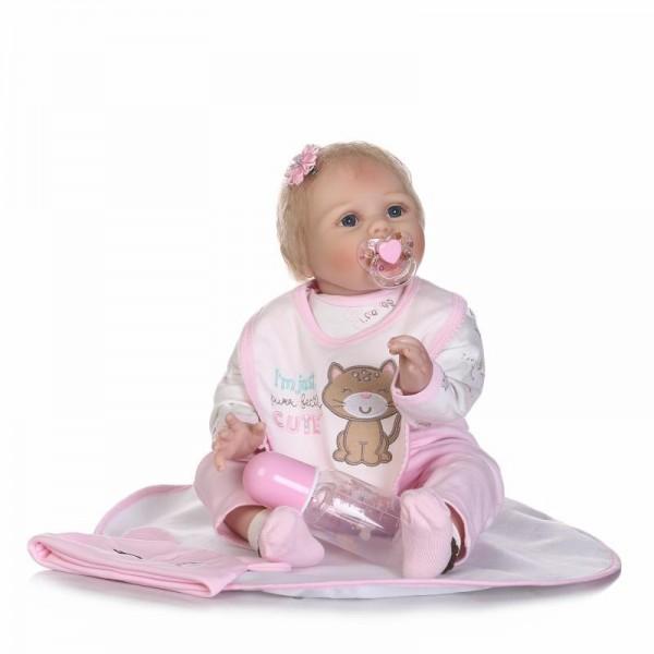 Reborn Baby Girl Doll Lifelike Silicone Newborn Baby Doll 22inch