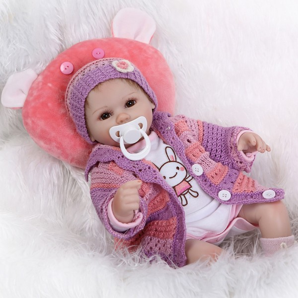 Cute Reborn Baby Doll In Purple Silicone Life Like Girl Doll 16inch