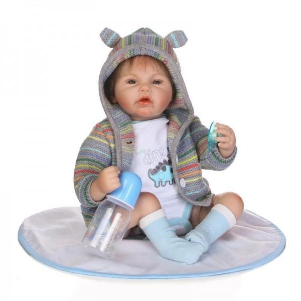 Realistic Reborn Baby Boy Doll Lifelike Silicone Baby Doll 20inch