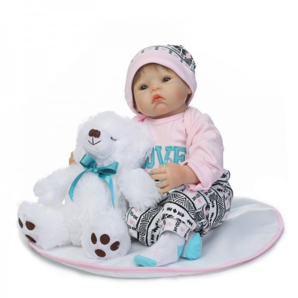 Reborn Baby Doll Lifelike Silicone Poseable Girl Doll 20inch