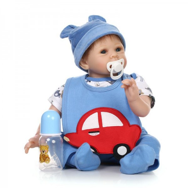 Reborn Baby Boy Doll In Car Romper Lifelike Real Silicone PP Cotton Doll 22inch