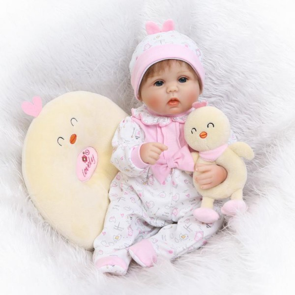 Poseable Reborn Baby Doll Lifelike Realistic Silicone Girl Doll 16.5inch