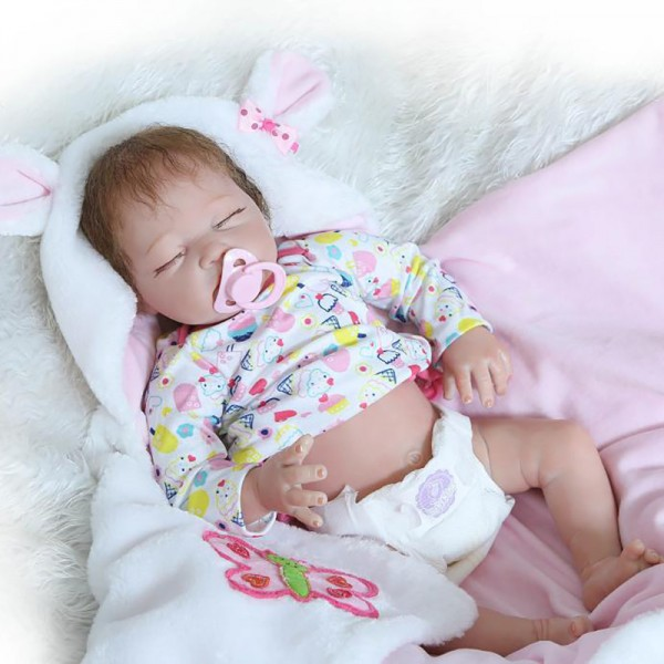 Sleeping Reborn Baby Doll Life Like Realistic Silicone Girl Doll 22inch