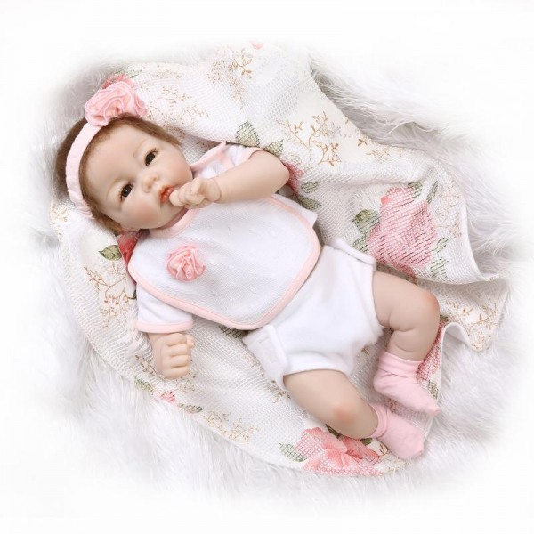 Soft Reborn Girl Doll Lifelike Silicone PP Cotton Baby Doll 20inch