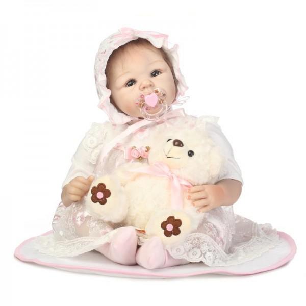 Reborn Baby Girl Doll In Princess Dress Lifelike Silicone Pretty Girl Doll 20inch