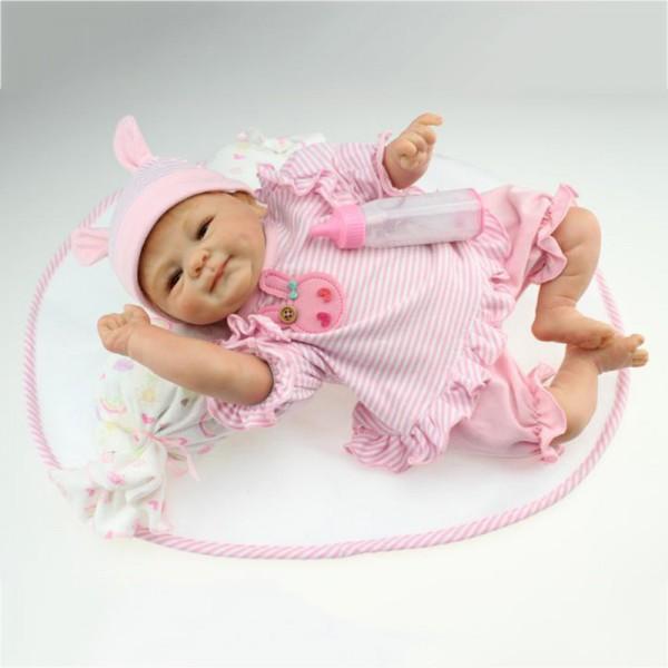 Cute Smile Reborn Baby Doll Realistic Lifelike Newborn Girl Doll 18inch