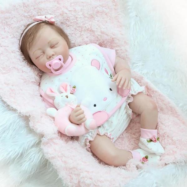 Cute Sleeping Reborn Baby Doll Silicone Lifelike Girl Doll 22inch
