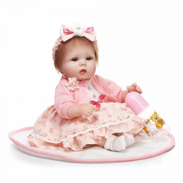 Sweet Cute Reborn Baby Girl In Princess Dress Silicone Lifelike Baby Doll 16inch