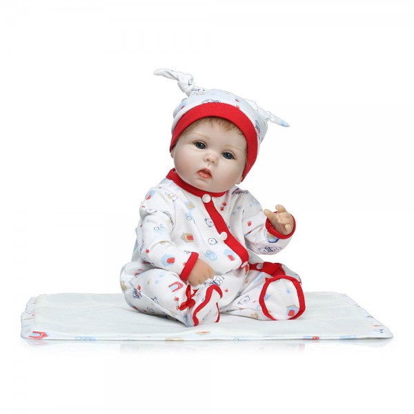 Cute Poseable Reborn Baby Doll Hand Rooted Mohair Silicone Boy Doll 16inch