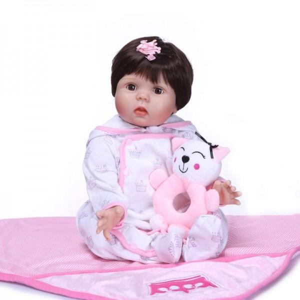 Reborn Girl Doll Lifelike Realistic Silicone Fake Babies 22inch
