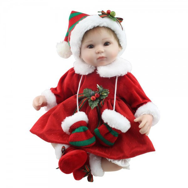 Christmas Reborn Baby Doll Lifelike Silicone Girl Doll 16.5inch