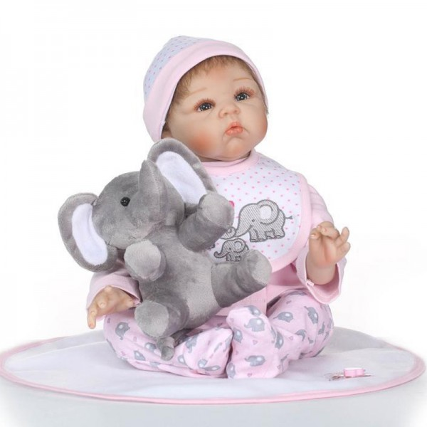 Reborn Baby Doll Lifelike Realistic Silicone Girl Doll 22inch With Toy