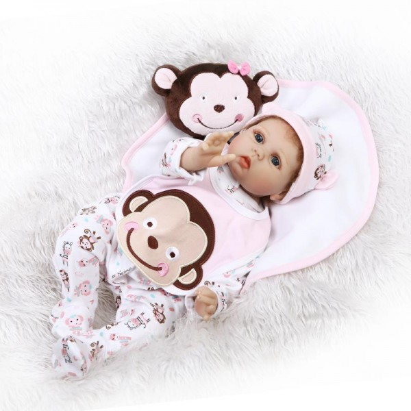 Reborn Baby Doll In Cartoon Romper Lifelike Realistic Silicone Girl Doll 22inch