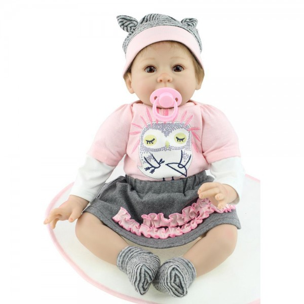 Cute Reborn Baby Doll Hand Rooted Mohair Silicone Girl Doll 22inch