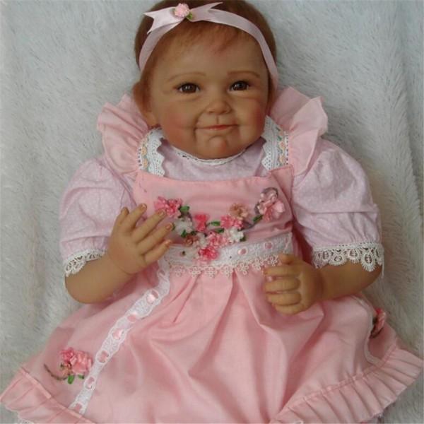 Reborn Baby Doll Lifelike Black Soft Silicone Vinyl Real Newborn Doll 21inch