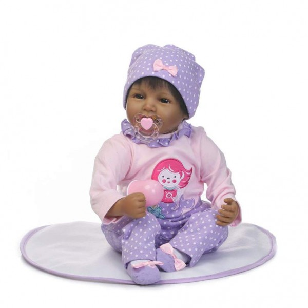 Realistic Silicone Dolls Black African American Baby Girl Doll 22 inches