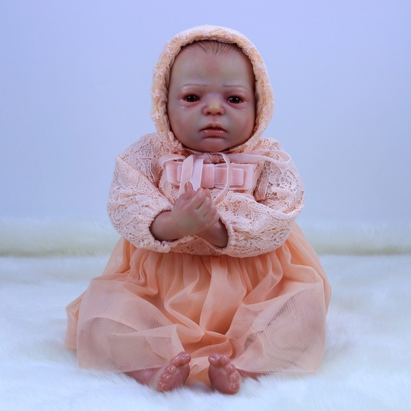 Lifelike Reborn Baby Doll In Pink Dress Hand Painted Hair Silicone Girl Doll 20inch