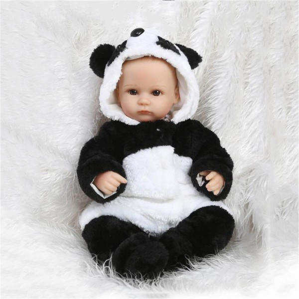 Reborn Baby Boy Doll In Panda Romper Painted Hair Lifelike Silicone Realistic Doll 16.5inch