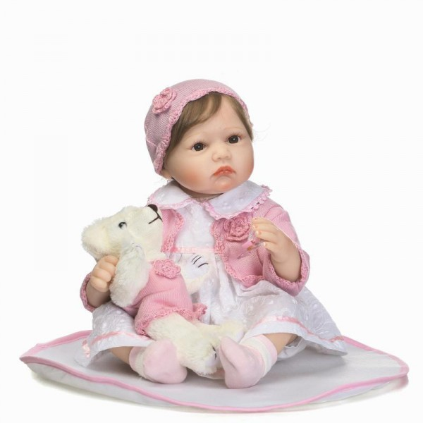 Reborn Baby Doll In Princess Dress Lifelike Realistic Silicone Girl Doll 22inch