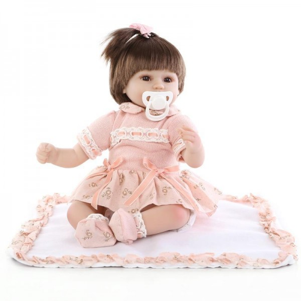 Lifelike Baby Doll In Pink Dress Silicone Realistic Reborn Girl Doll 17inch