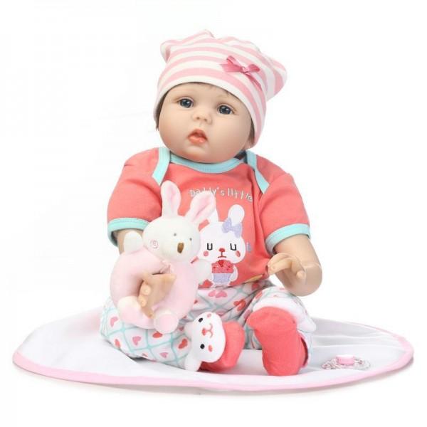 Realistic Reborn Baby Doll Lifelike Silicone Girl Doll 22inch