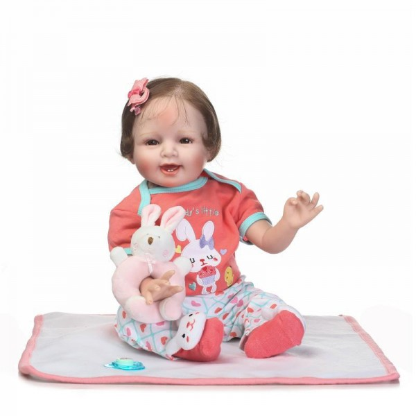 Reborn Girl Fake Babies Lifelike Realistic Silicone Baby Doll 22inch