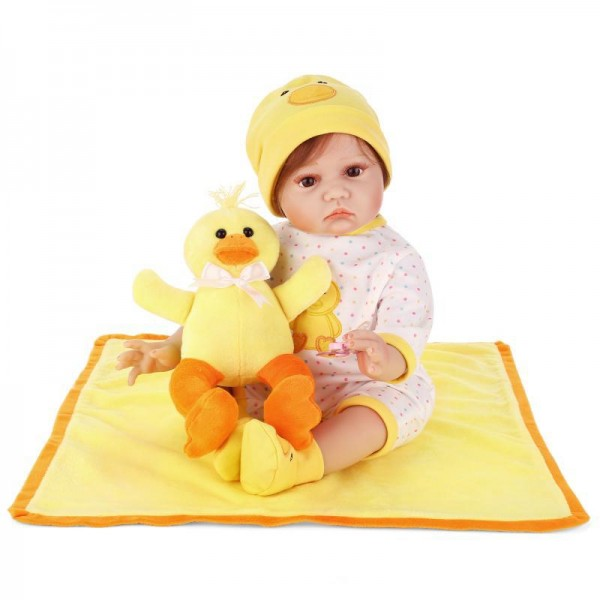 Reborn Baby Doll In Yellow Duck Romper Lifelike Silicone Girl Doll 22inch