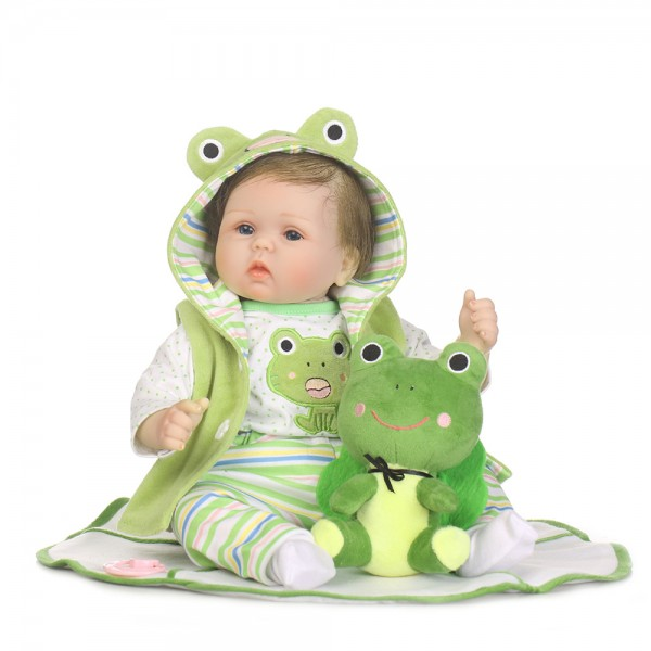 Reborn Baby Doll In Travel Frog Romper Lifelike Silicone Girl Doll 22inch
