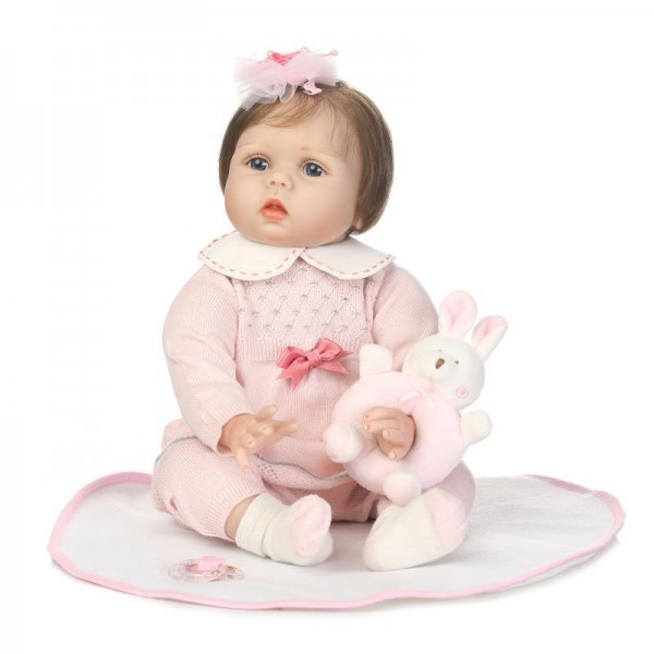 Sweet Reborn Girl Doll Pink Lifelike Silicone Baby Doll 22inch