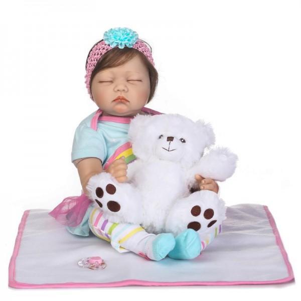 Poseable Sleeping Baby Doll Silicone Lifelike Reborn Girl Doll 22inch