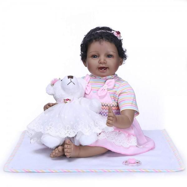 Reborn Baby Dolls Girl Black Skin African American Baby Newborn 22inch