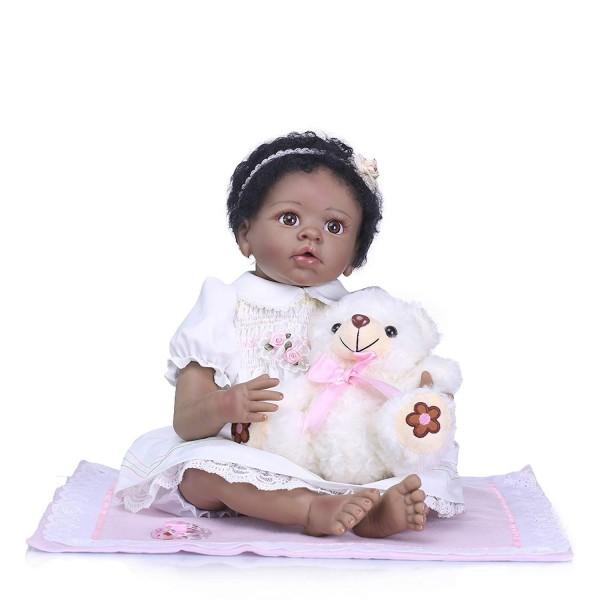 Handmade African American Reborn Baby Girl Lifelike Black Baby Dolls 22 Inches