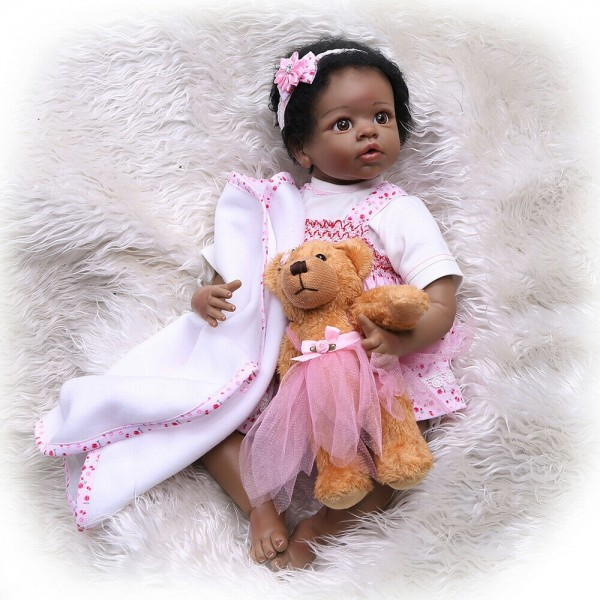 Cute Reborn Baby Doll Realistic African American Baby Girl 22 inches