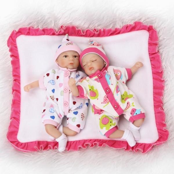 Lifelike Reborn Baby Twins Silicone Realistic Boy Girl Doll 8inch