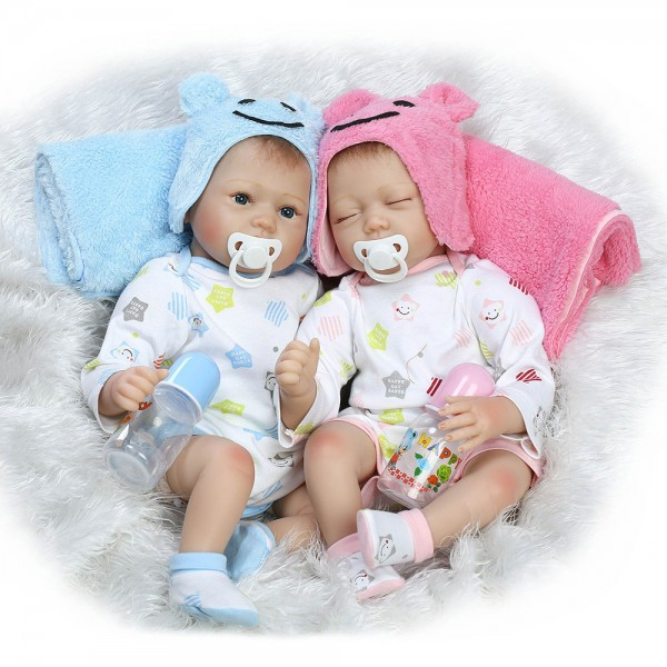 Reborn Twins Boy Girl Doll Lifelike Silicone Realistic Baby Doll 22inch