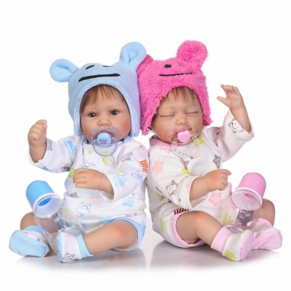 Poseable Reborn Baby Twins Doll Lifelike Silicone Boy Girl Doll 16inch