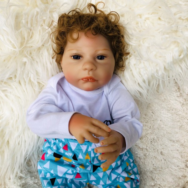 Reborn Baby Boy Doll Lifelike Real Silicone PP Cotton Doll 18inch