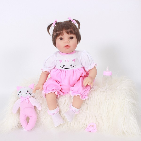 Pink Reborn Baby Girl Lifelike Newborn Silicone Baby Doll 20inch